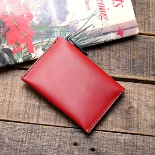 Retro New York red dipped yak leather handmade passport holder