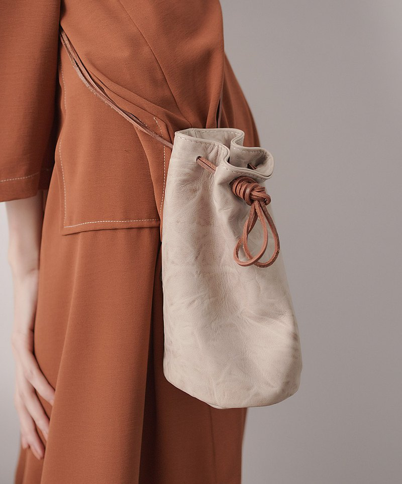 Leather mini bucket bag khaki