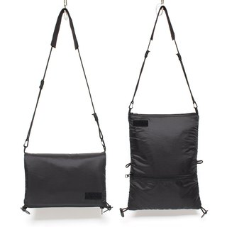 Cross-shoulder shoulders with small bag two kinds of back waterproof nylon folding bag black -9 fold pre-order
