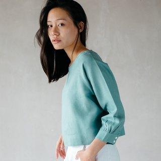 Tunic top with button in Teal blue (Resize)