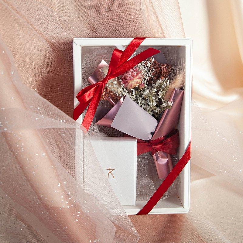 浪漫紅花束飾品禮盒組(全新款)| 純銀飾品。乾燥花。情人節。禮物