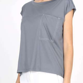 Wide collar jump color pocket suction shirt - Blue Grey