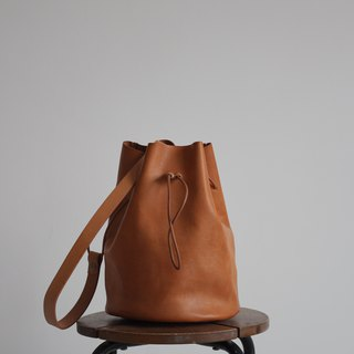 Leather Drawstring Bucket Bag - Black