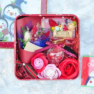 Goody Bag - Limited Dry Flower Christmas Gift Box (middle) - Santa Claus / Penguin Tinplate