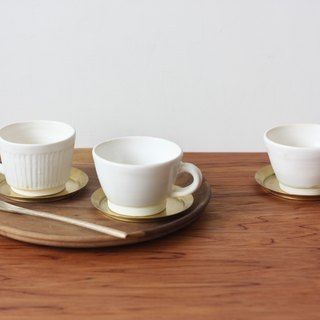 Daily Use Series - soft white winter cuvette (a set of three, brass comprising saucer)