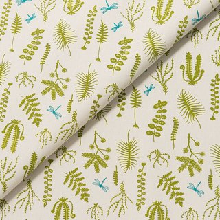 Hand-Printed Cotton Canvas(Wide) - 500g/y / Weeds and Dragonfly / Fern Green
