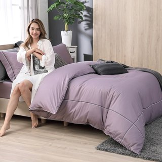 (Extra large) two-color embroidery taste purple - high quality 60 cotton dual-use bedding package four-piece group - 6 * 7 feet King