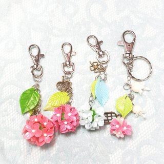 Pink flower ball bag pendant key ring