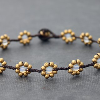 Moonstone Brass Braided Anklets Flower Brass Woven Beaded Anklets