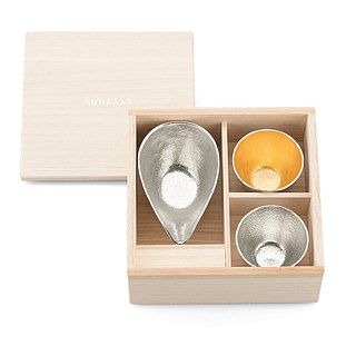 Pure tin plate mouth 盅 (S) + pure tin / pure tin gold foil wine glass group