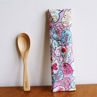 Wen Qing style green chopsticks bag ~ romantic full house pink purple storage package. Green chopsticks. Hand made cutlery bag. Exchange gifts.