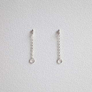 Ni.kou sterling silver chain pendant ear pin. ear hook