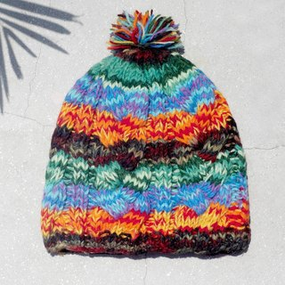 Christmas gift limited handmade handmade pure wool hat / knitted hair hat / inner bristles hand knit hair hat / made wool cap (made in nepal) - colorful tingling progressive forest system