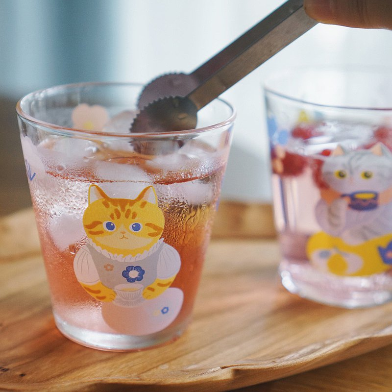 Miao Ji MEWJI original illustration cute glass cup cat afternoon tea print yellow orange cat