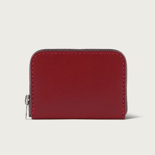 U-shaped zipper short clip / coin purse / wallet - wine red