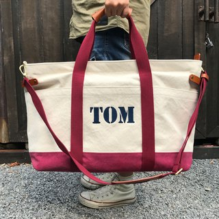 Three days Two nights Canvas Bag / White vs red