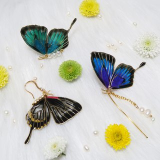 Custom Miss Paranoid Paranoia Miss Swallowtail Butterfly Resin Earrings Green + Purple One 925 Silver Needle