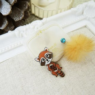 §HUKUROU§ Shake Raccoon Earrings (Brown)