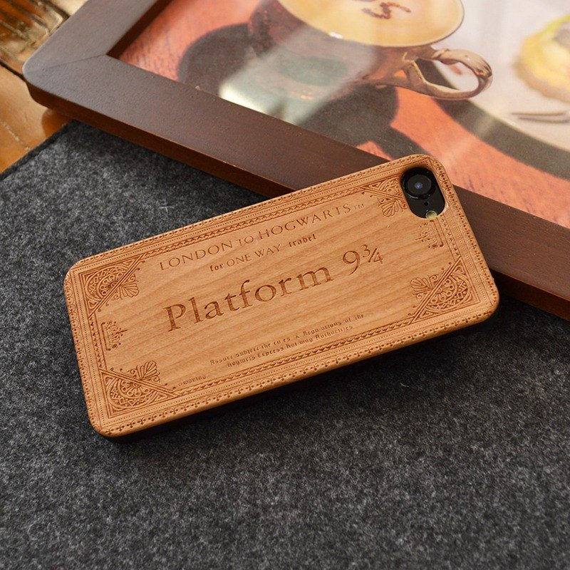 Customize Lippert Station Ticket Laser Carving Natural iPhone 6 / 6s / 6 plus / 6s plus / 7/7 plus Wood + Environment Scrub Plastic Phone Case