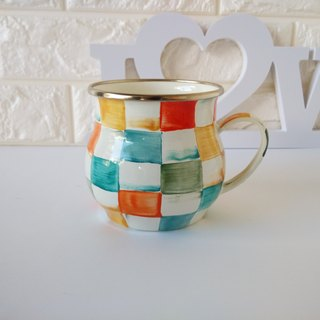 Colored plaid 珐琅 classical cup