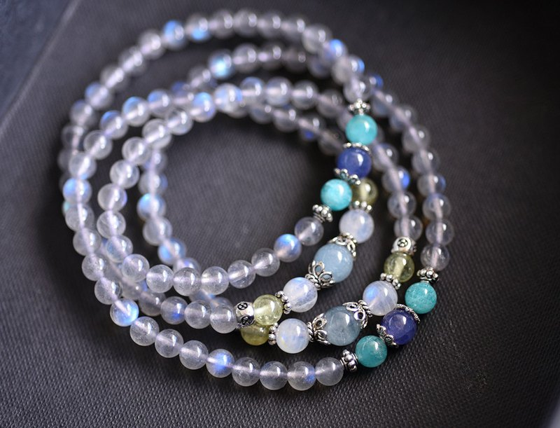 Light blue light labradorite + sea blue treasure + Danquan stone 108 beads / beads necklace / multi-ring bracelet