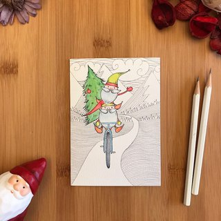 ELVES BIKE Christmas card hand-painted illustration of environmentally friendly paper imported cards C103