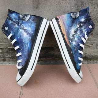 [Original painting hand-painted] step on the dream of the nebula, the original painting hand-painted shoes waterproof