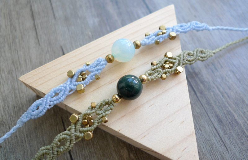 Misssheep H29- National Wind Bohemian Macrame South American Wax Weave Agate Beads Brass Beads Bracelet