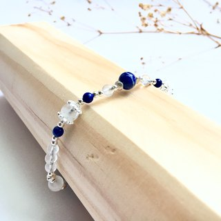 Ops Moonstone Lapis  Gemstone Lucky Silver Simple Bracelet