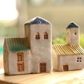 [Christmas gift exchange] blue green roof -8 Southern France Thao house (ceramic 2) Valentine's Day Birthday Gifts +