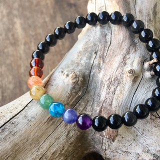 My.Crystal. 6mm Natural Stone Rainbow Bracelet (Illuminated Black Skull Chain + Silver Beadless Version)