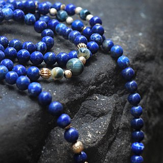 Qingjingju. Natural ore four chains 108 rosary lapis lazuli dream tiger eye stone 24K gold pure copper fittings