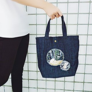 Round fan shell sea sand ocean bubble dark blue washed denim handbag out bag shopping bag