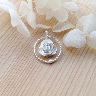 Rose Series - Elegant Silver Circle Rose - 925 Sterling Silver Handmade Necklace Silver Gift Wrap