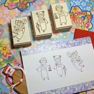 【Log Stamp】Summer Fireworks Yukata Girl Group-C