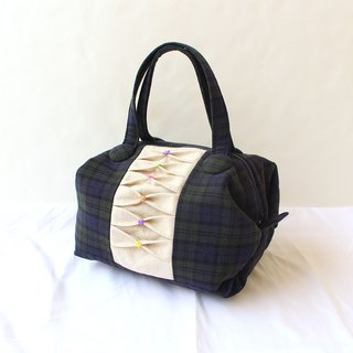 Plaid stitching handbag