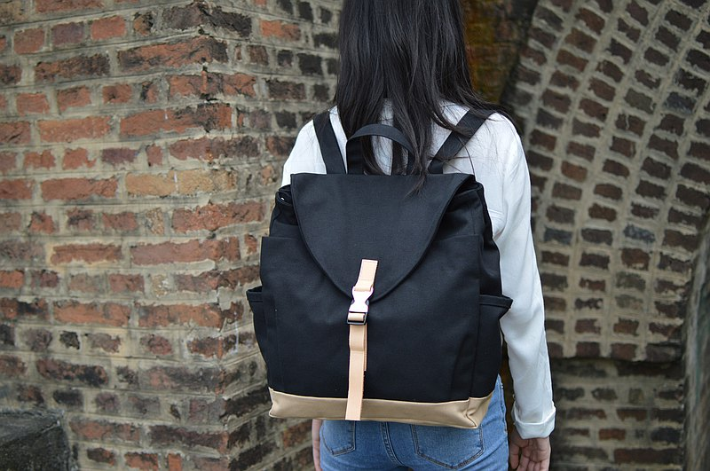 Black canvas backpack ,Unisex School backpack, Leather strap laptop bag - no.108