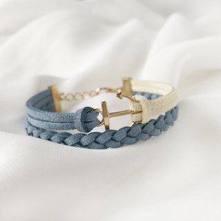 Handmade Double Braided Anchor Bracelets Rose Gold Series-light blue with yellow