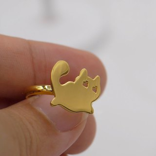 Handmade Little Cat Ring - 18k Gold plated on brass , Animal Jewelry