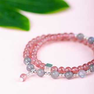 [Companion] Strawberry crystal. Labradorite. 925 sterling silver natural crystal bracelet