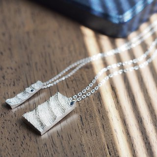 2 co set) White wave stick pair Necklace Silver 925