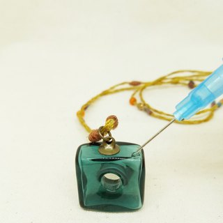 Blue essential oil bottle necklace