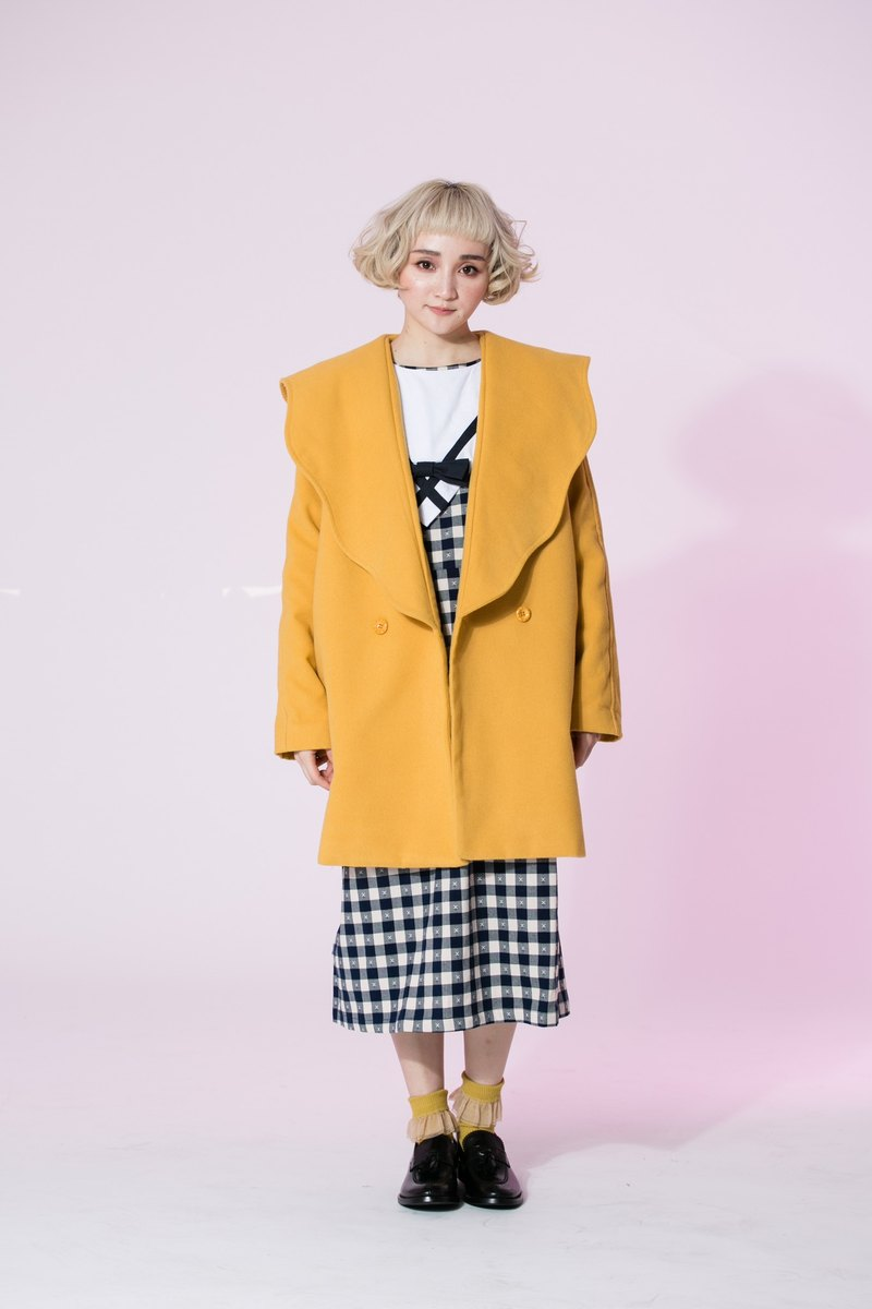 : EMPHASIZE microwave wave edge big lapel wool coat jacket - Yellow