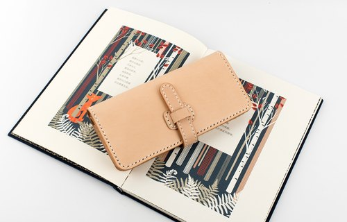 Tangential handmade leather simple retro buckle long wallet clutch unisex