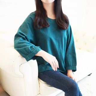 【柒 Wu eight 〇 MIT】 cotton wide-sleeved shirt (green)