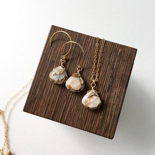 Copper  Calcite Necklace and Hook-earring 14kgf, set-up