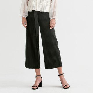 VACAE striped knotted eight-point wide tube trousers