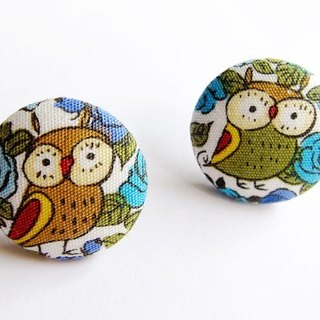 Blue cloth buckle earrings clip earrings owl do
