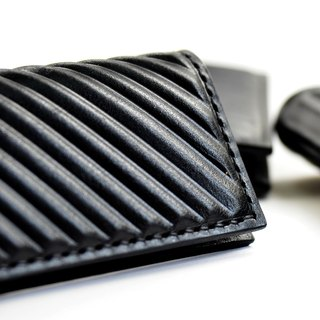 PIPILALA Leather Design Solid Leather Business Card Holder - Classic Twill (Classic Black)
