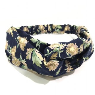 Dark blue elegant flowers / handmade elastic hair band